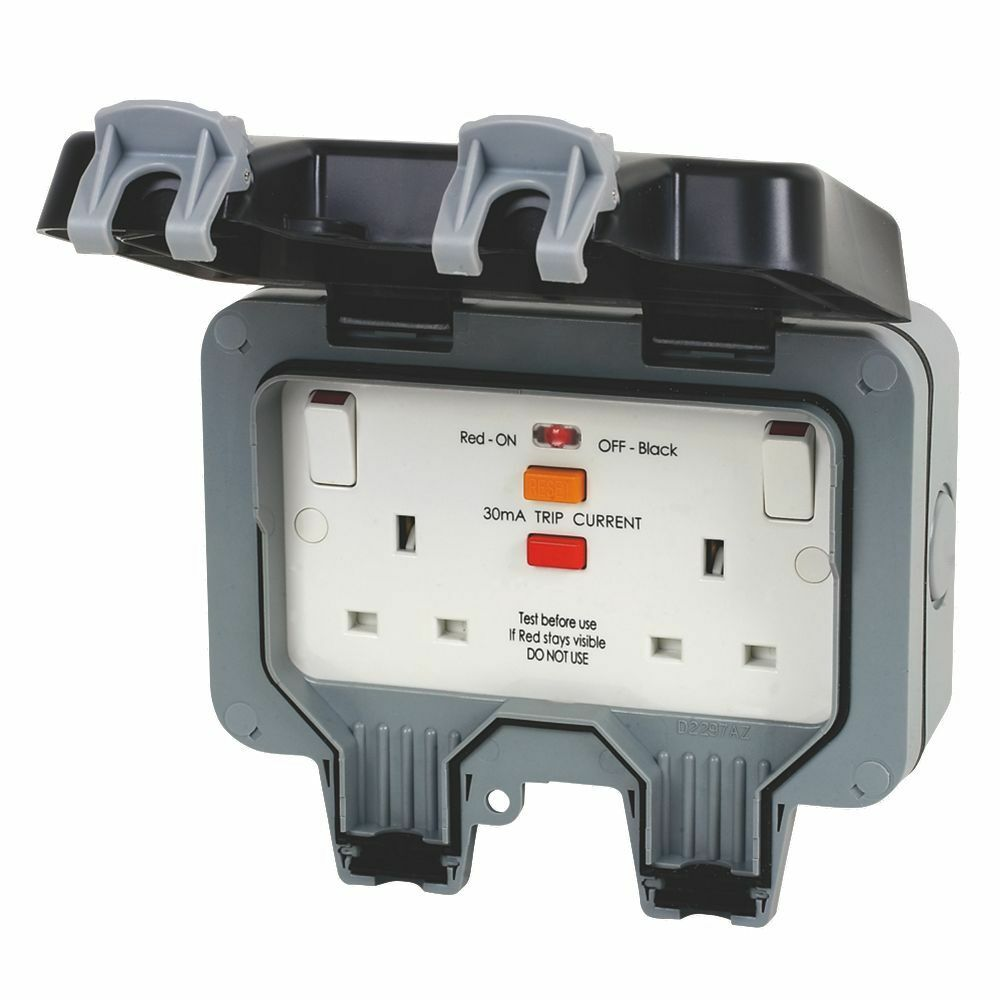Bg Wp22rcd Outdoor Twin 13a 30ma Rcd Latched Switched Socket Ip66 Wiring Accessories Nexus Storm