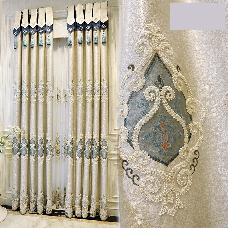 Huayin Velvet Linen Curtains Tulle Window Curtain For: Panel Curtains Luxury European Style Velvet Embroidered