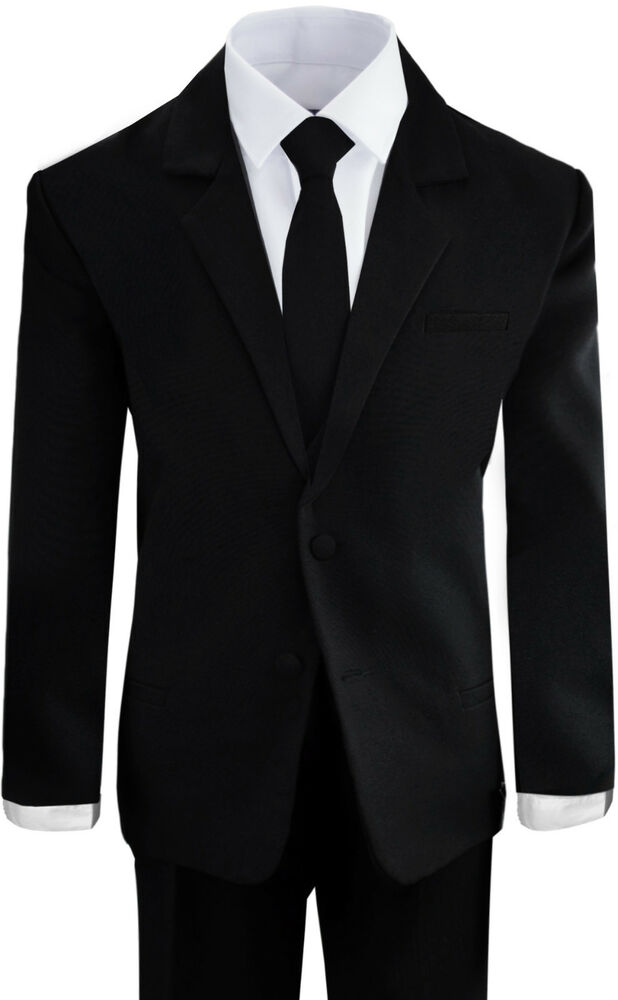 Boys Suits in Black and White Formal Wear Complete Set All ...