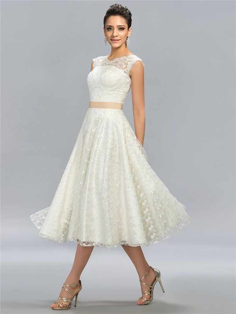 Vintage white ivory tea length short lace wedding dress for Sell your wedding dress online for free