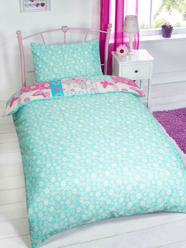 Butterfly Patchwork Design Pink Turquoise Girls Duvet