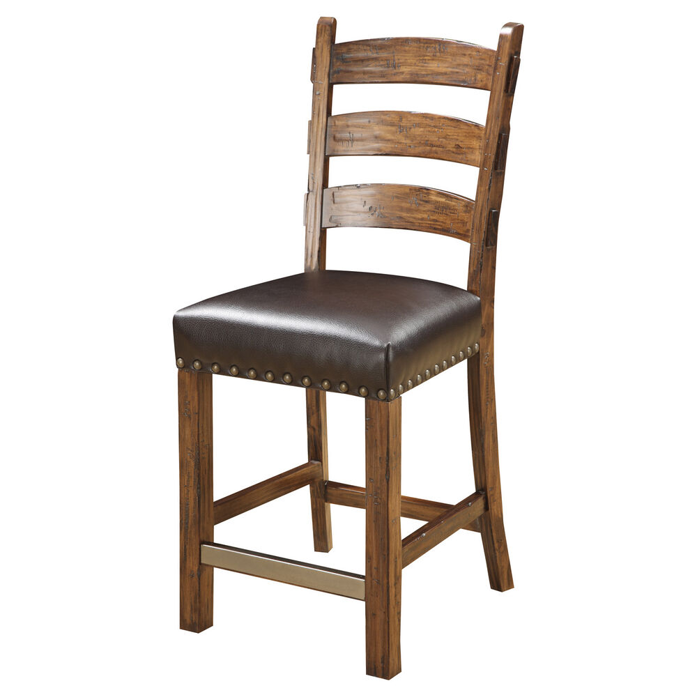 Emerald Home Furnishings Rustic Ladderback Barstool Set