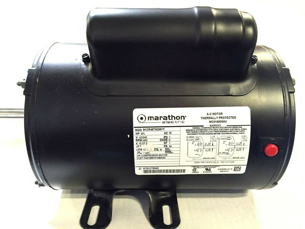 Mc019800av marathon air compressor motor 240vt 5hp 56fr for 5hp air compressor motor single phase