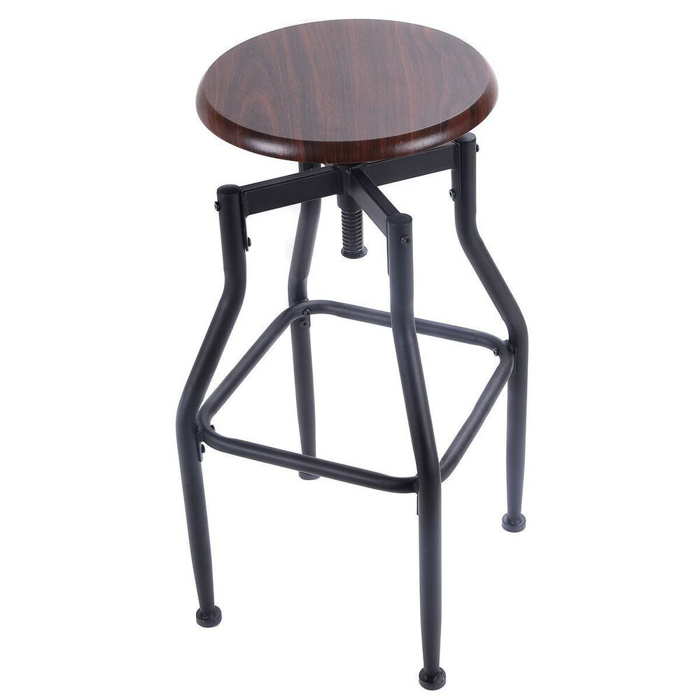 Vintage bar stool metal design wood top height adjustable for Industrial design bar stools