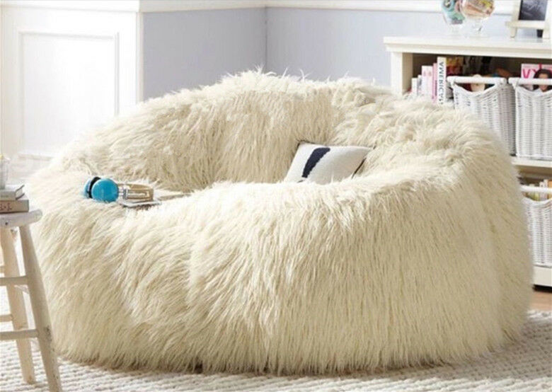 Large White Shaggy Faux Fur Long Fur Beanbag Cover Plush