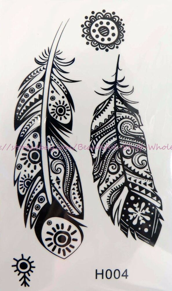 Henna Style Tattoos Lace Tattoo: Indian Feather Henna Black Lace Tattoo Temporary Tattoo