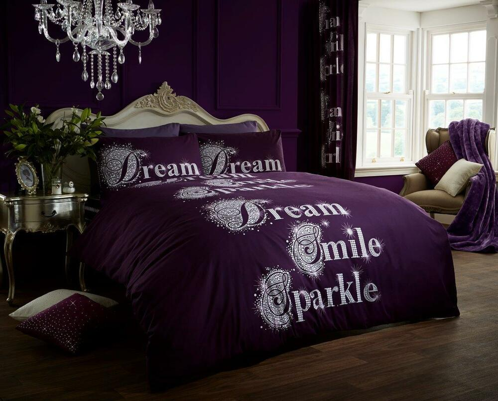 Smile Dream Sparkle Duvet Quilt Cover Bedding Set With Pillowcases In All Sizes