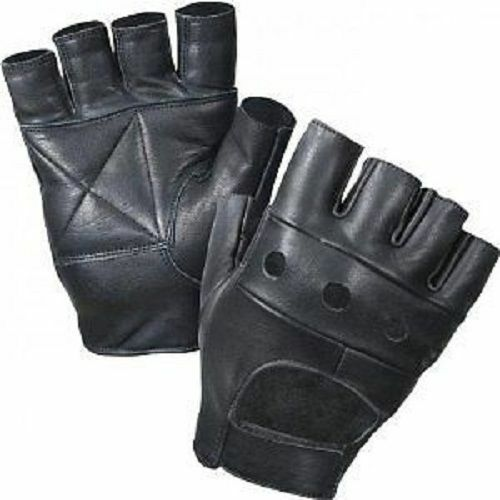 Black Leather Weight Lifting Workout Gloves: LEATHER FINGERLESS MENS WEIGHT TRAINING GLOVES BLACK