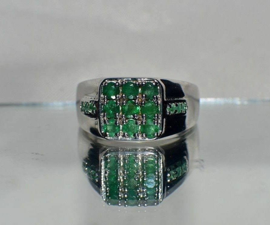 1 27ct emerald in platinum overlay sterling