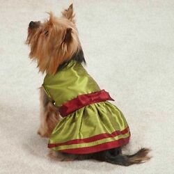 Holiday Shimmer DOG Puppy Christmas Dress Green Red Size: XSmall