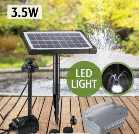Water Feature Pump Kit Solar Power Pond Pool With Timer Led Light 3 5w Ebay