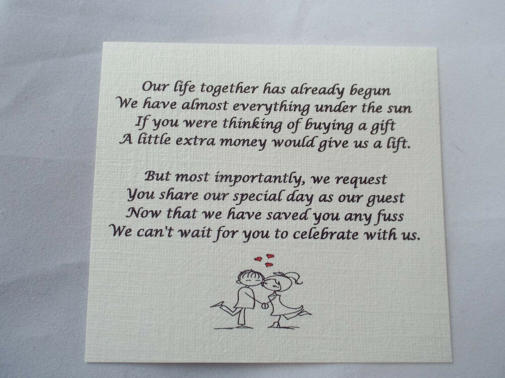 Funny Wedding Invite Poems: 50 Small Wedding Gift Poem Cards Asking For Money Cash