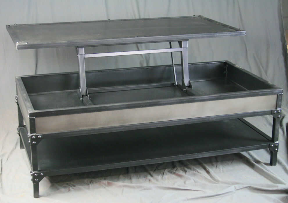 Vintage Industrial All Steel Lift Top Coffee Table With