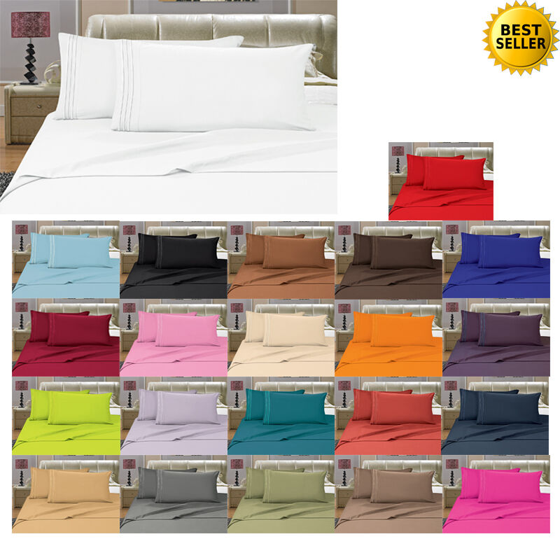 1800 Thread Count 4 Piece Bed Sheet Set Many Sizes