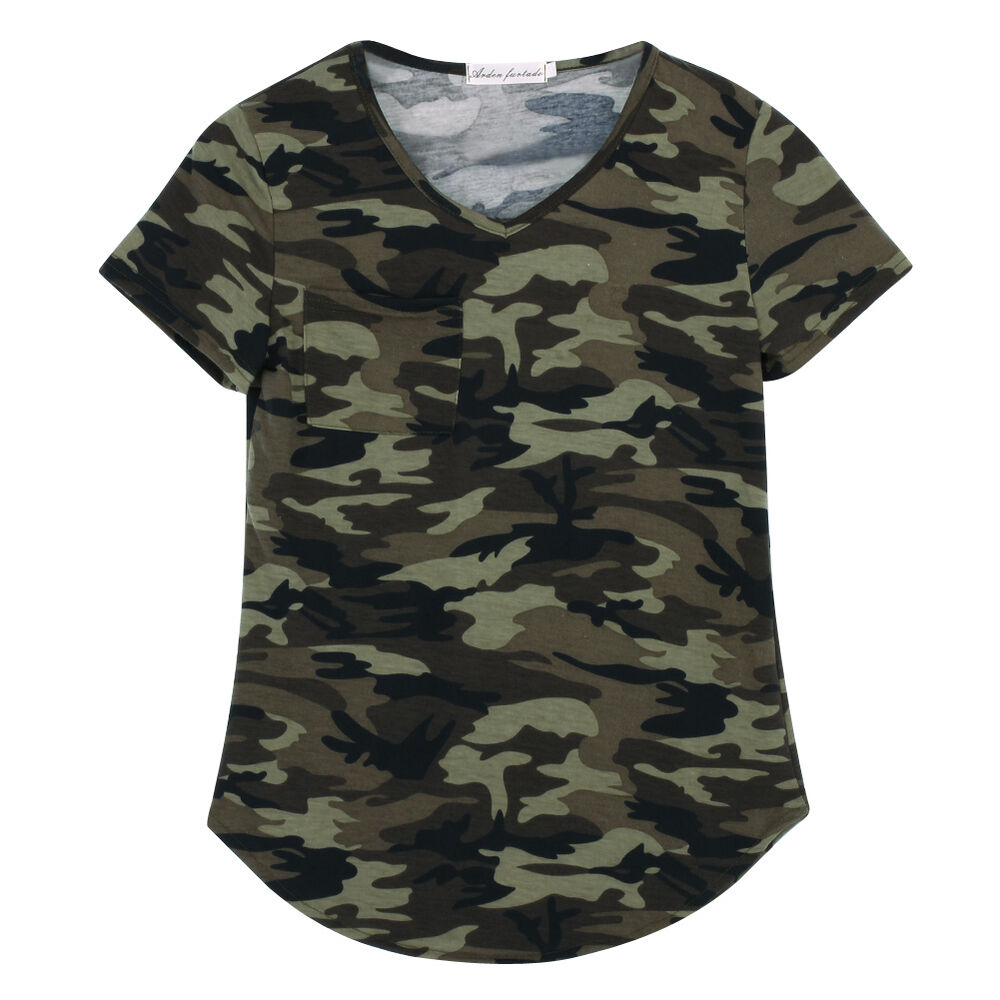 women camouflage print pocket t shirts army short sleeve camo tops blouse tee ebay. Black Bedroom Furniture Sets. Home Design Ideas