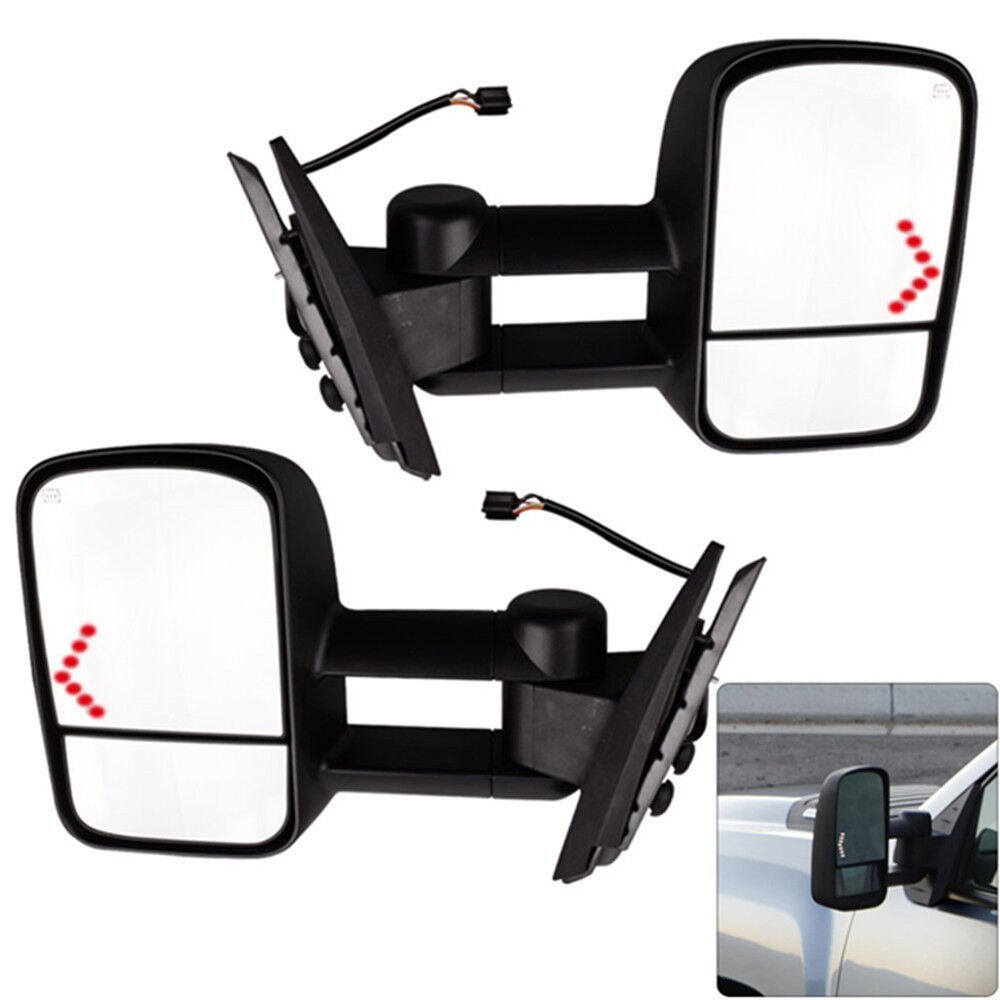 Pair Power Led Signal Towing Mirrors For 07 13 Chevy