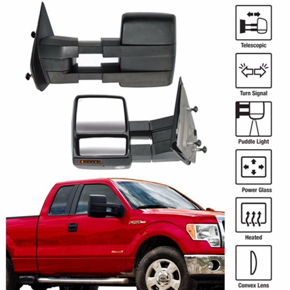 07 14 Ford F150 Pickup Towing Power Heated Tow Mirrors Set