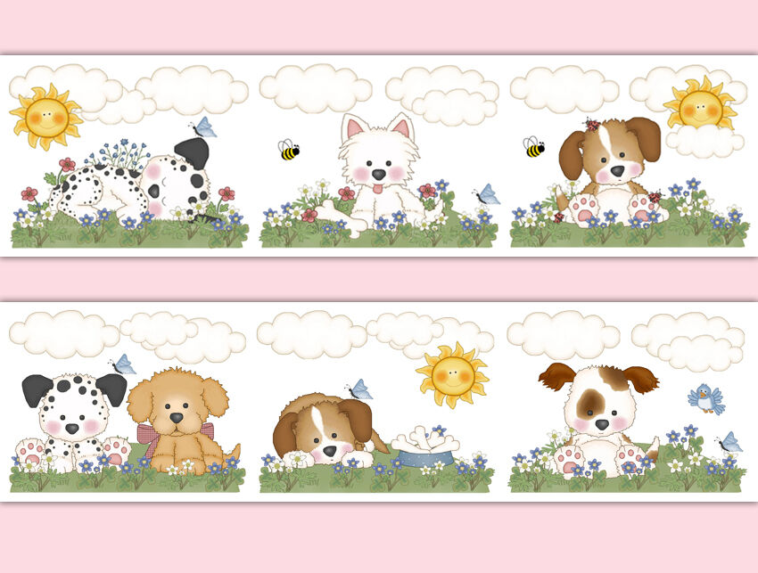 Puppy Dog Nursery Decor Decals Baby Girl Wallpaper Border