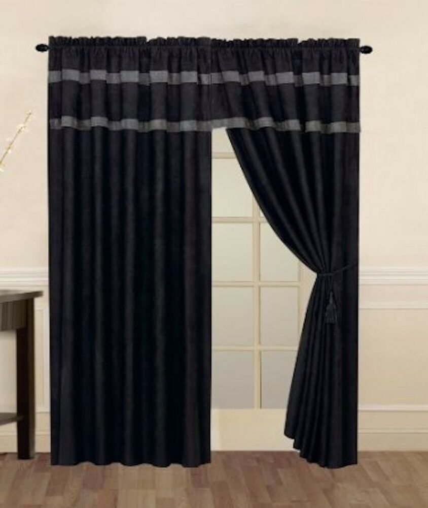 Black & Grey Micro Suede Window Curtain / Drape Set With