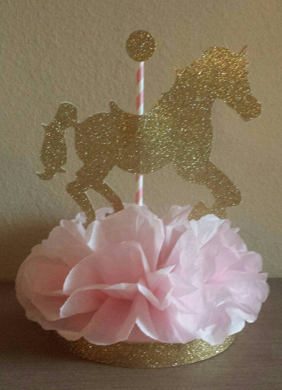 Pink And Gold Baby Shower Centerpieces : Carousel horse pink gold centerpiece birthday party baby