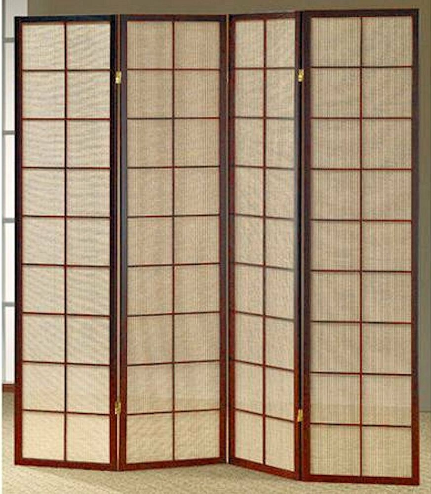 3 4 panel fabric in lay espresso room screen divider ebay for Photo screen room dividers