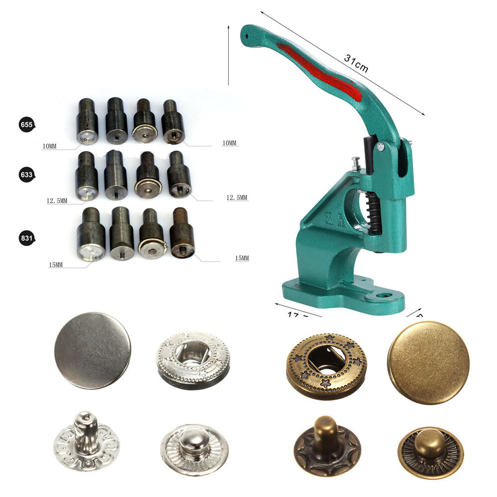 snap pressing machine snap on tool various dies sets snap fasteners for you pick ebay. Black Bedroom Furniture Sets. Home Design Ideas
