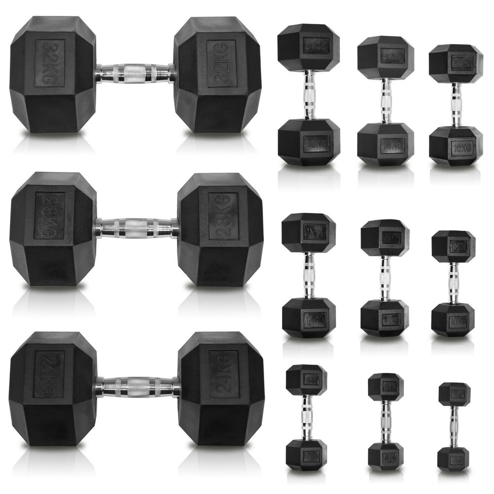 Rubber Dumbbell Set: JLL Dumbbells Rubber Encased Ergo Weights Sets Hexagonal