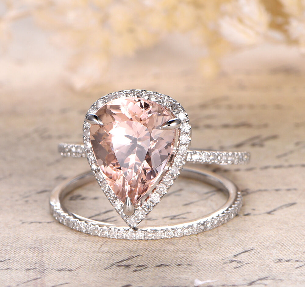 morganite wedding rings claw prongs 8x12mm pear cut morganite halo diamonds trio 6018