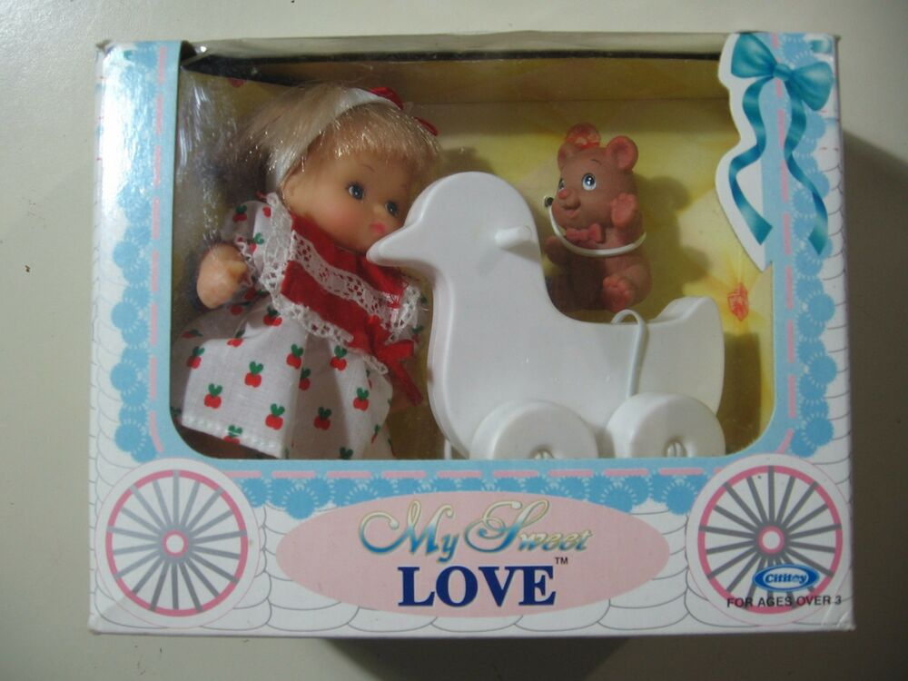 Vintage 4 Inch My Sweet Love Doll Set W Duck 1990 New