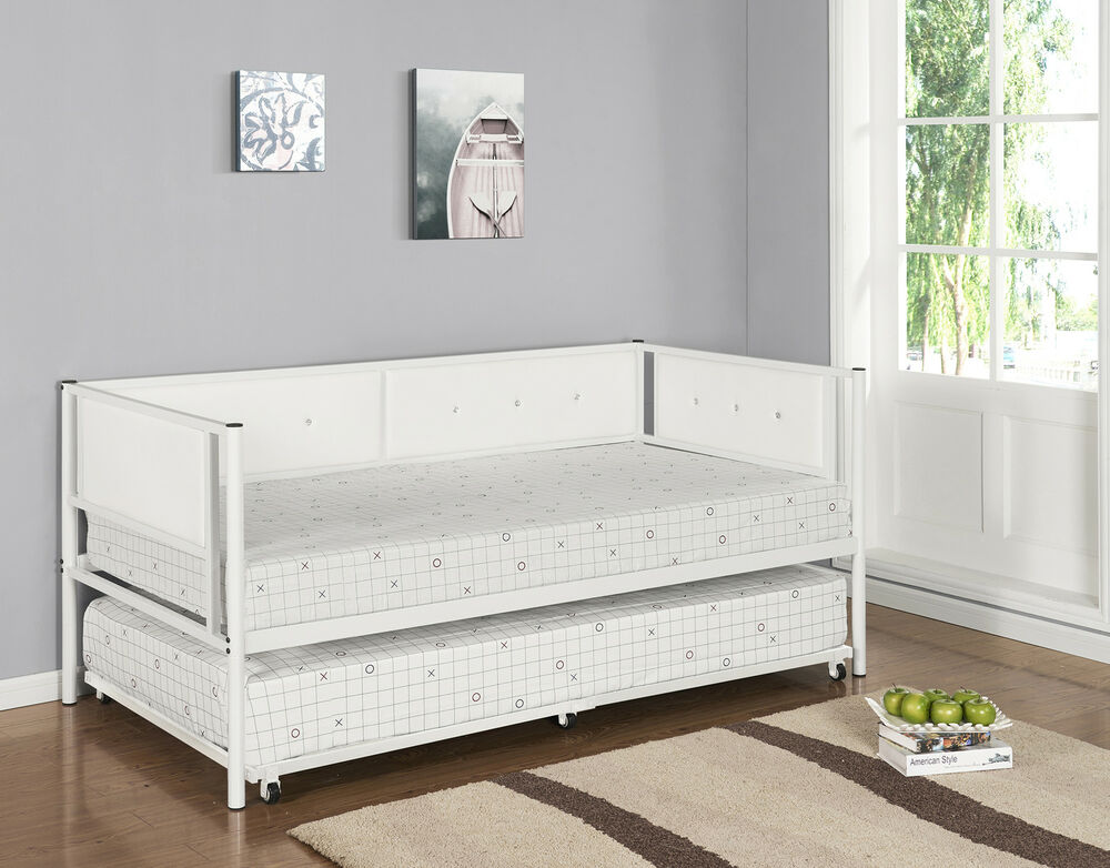 Kings Brand White Metal Upholstered Day Bed Daybed Frame