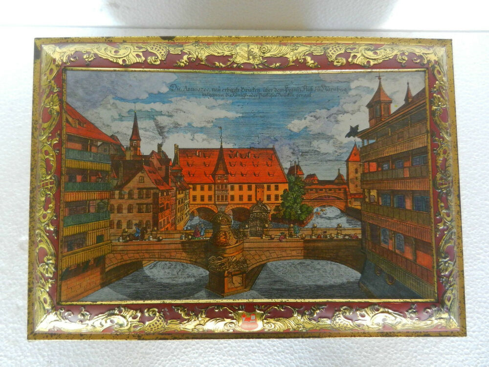vintage big embossed 39 e otto schmidt 39 ad litho tin box germany adv ehs ebay. Black Bedroom Furniture Sets. Home Design Ideas