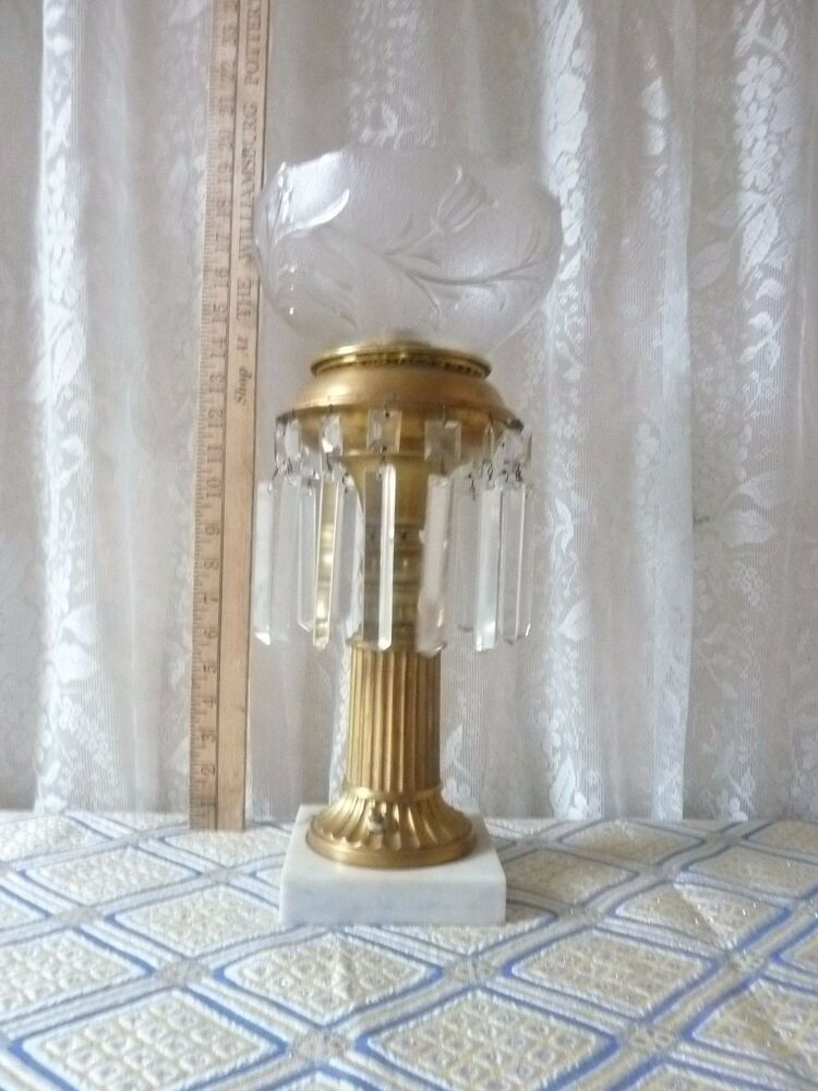 antique brass astoral stem parlor lamp with prisms exquisite cut glass shade ebay. Black Bedroom Furniture Sets. Home Design Ideas