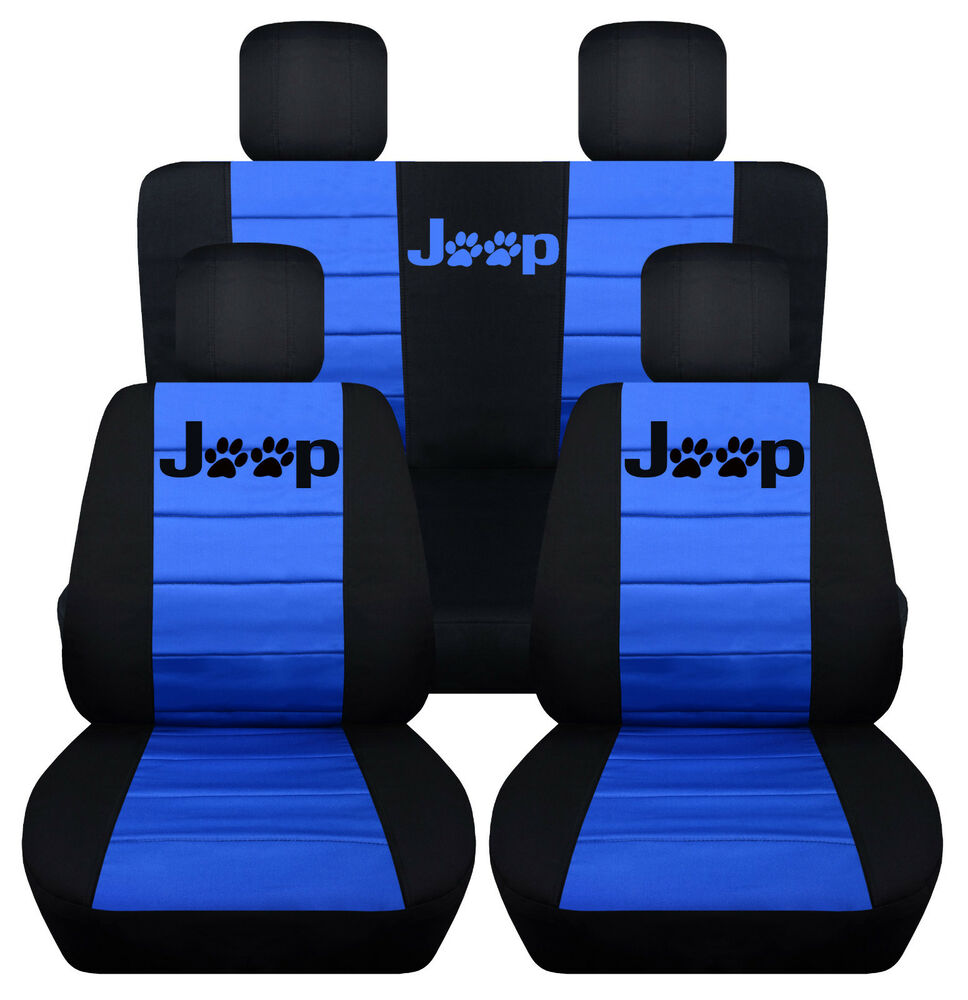Ebay Car Seat Covers >> Front&Rear Black-Med Blue Seat covers Paw prints 2Door Jeep Wrangler 2011-2016 | eBay