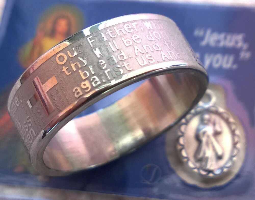 Our Father Lord Prayer Christian Ring From Medjugorje