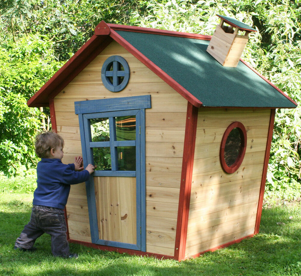 Redwood lodge wooden playhouse kids painted garden wendy for Toddler outdoor playhouse