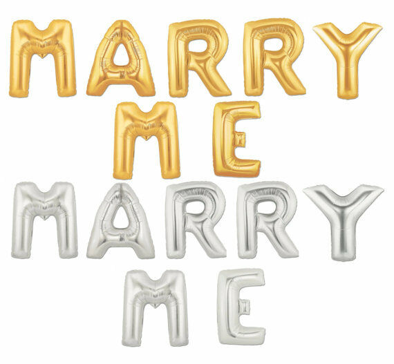 """Silver And Gold Leters: 16"""" 40"""" Silver Gold Letter Mylar Balloons MARRY ME Wedding"""