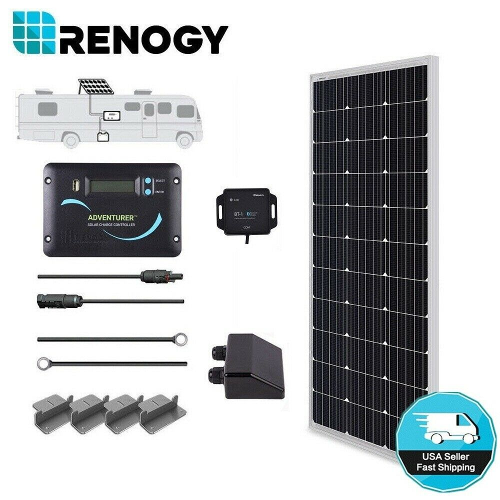 Renogy Solar Panel 100 Watts Rv Kit Off Grid 12v Volt