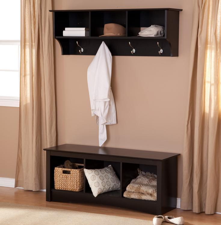 Entryway Bench and Shelf Mudroom Wood Set Hall Tree Cubby ...