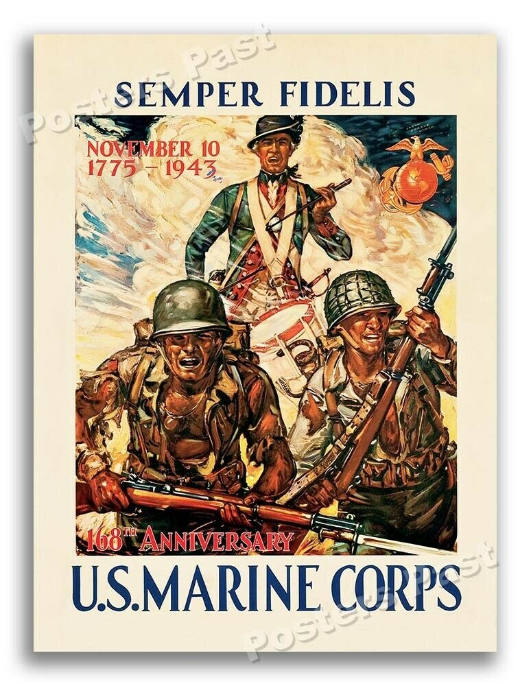 Ranks In Marine >> 1940s U.S. Marine Corps 168th Anniversary WWII Historic War Poster - 20x28 | eBay
