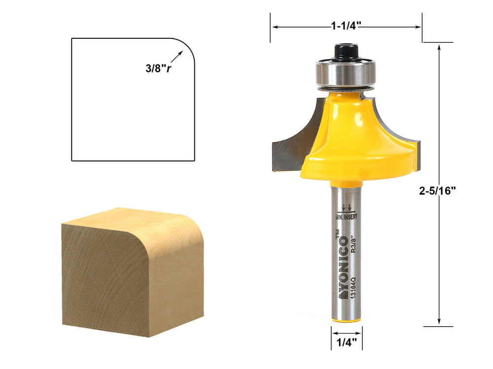 round over edging router bit 3 8 radius 1 4 shank yonico 13164q ebay. Black Bedroom Furniture Sets. Home Design Ideas