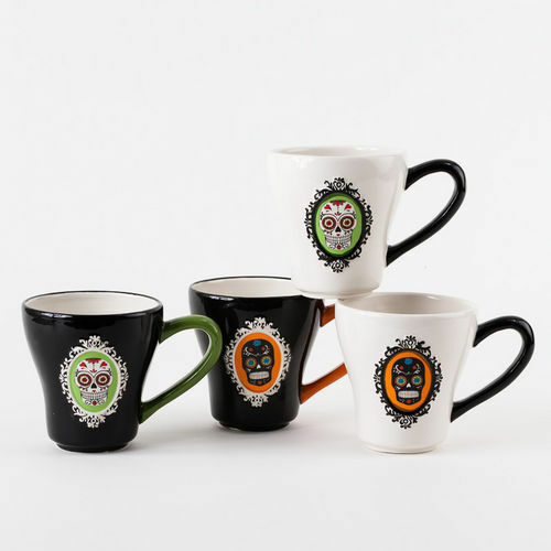 Tm0038 Sugar Skulls Halloween 9oz Ceramic Mug Coffee Tea