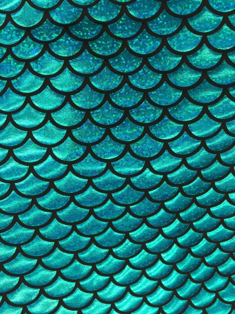 Turquoise mermaid scale 4 way stretch hologram spandex for Spandex fabric