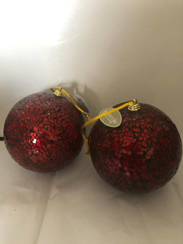 Large Red Christmas Tree Ornaments : Large red mirrored ball glass holiday christmas