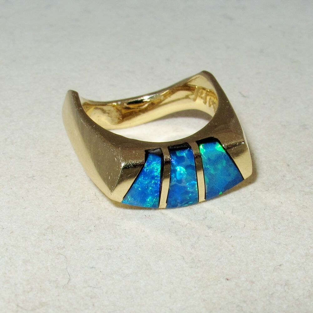 Signed 14k Yellow Gold Ring With 3 Blue Australian Opal