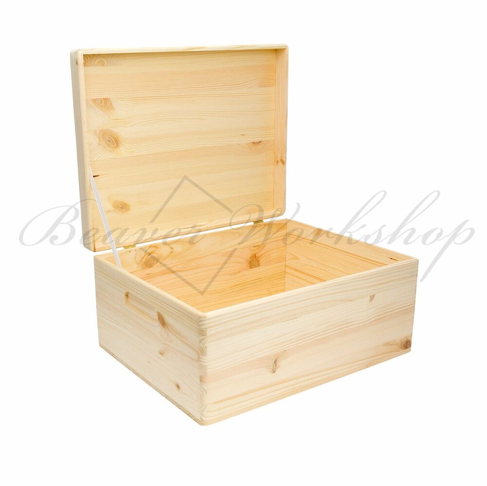 Plain wooden box keepsake memory souvenirs craft storage for Craft boxes with lids