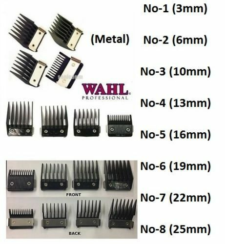 attachment combs for wahl hair clippers with metal number 1 2 3 4 5 6 7 8 ebay. Black Bedroom Furniture Sets. Home Design Ideas