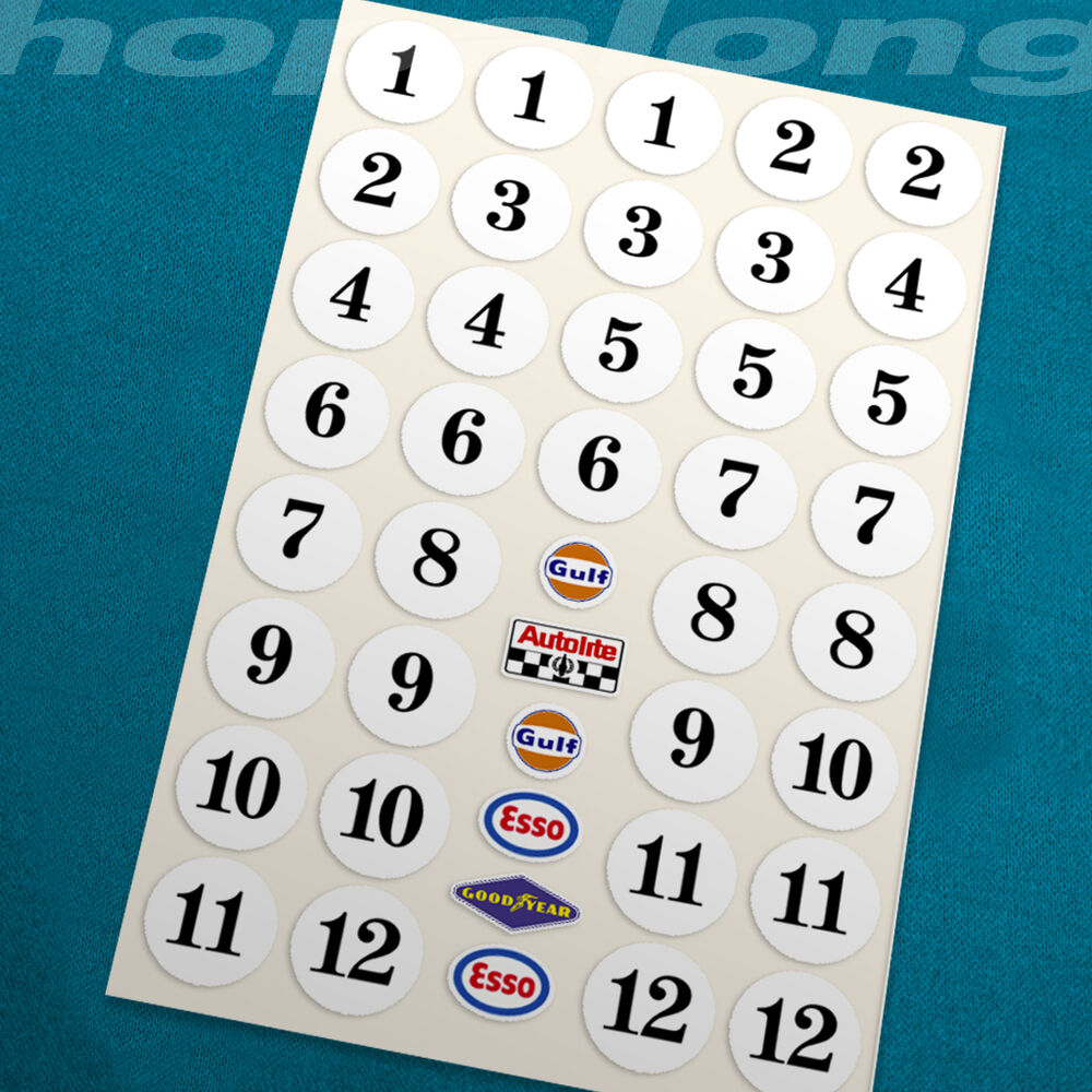Details about classic motorsport race number sticker decals 1 24 scale 20mm ds065