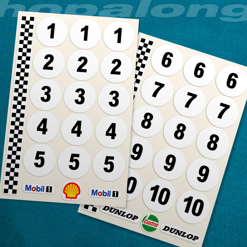 Details about classic motorsport race number sticker decals 1 18 scale 30mm ds074
