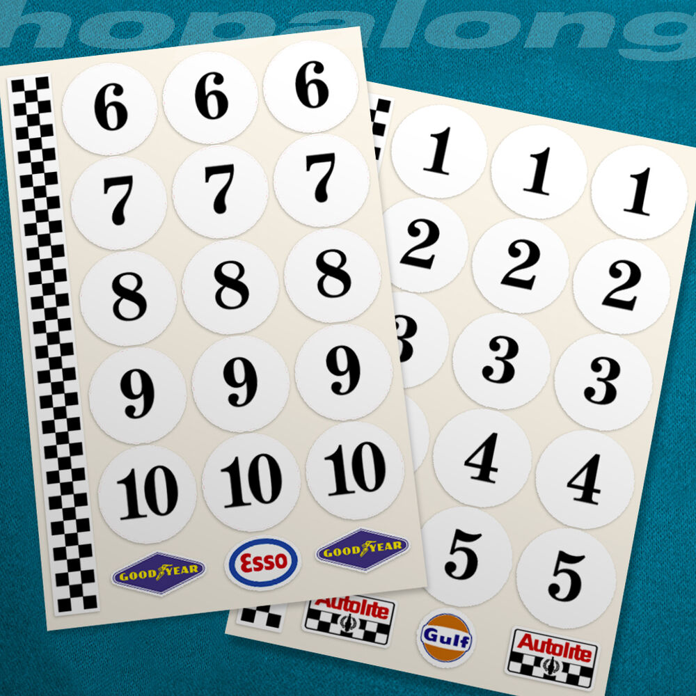 Details about classic motorsport race number sticker decals 1 18 scale 30mm ds075