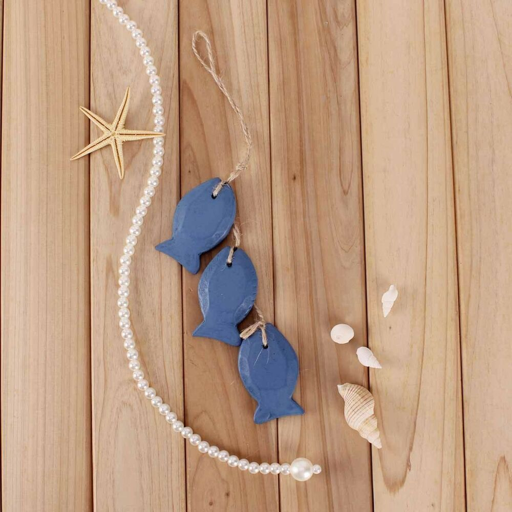 New nautical decor dark blue wooden fish net wall hanging for Fish wall hanging
